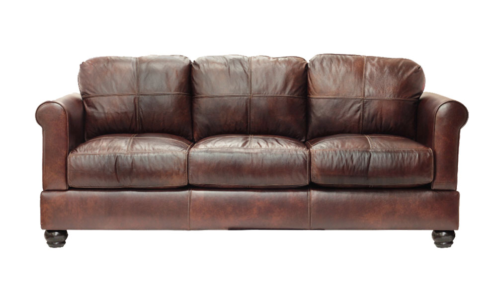 Megan Full Size Sofa in Back Brown Leather